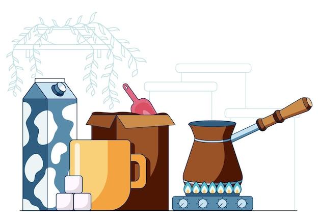Cartoon vectorillustratie in een vlakke stijl van koffie cezve op gasfornuis