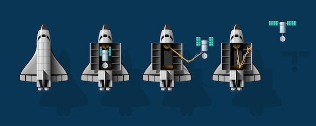 Cartoon vectorillustratie raketlancering geïsoleerde set.