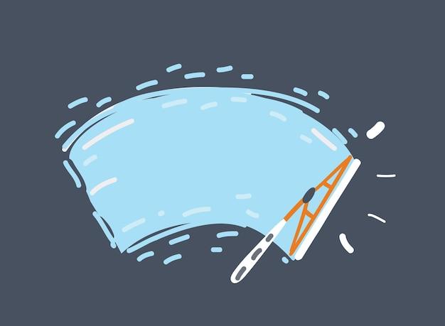 Cartoon vectorillustratie van check wipe reinigt de voorruit auto voorruit glassbrush wisser in auto.