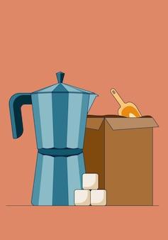 Cartoon vectorillustratie van een eenvoudige geiser koffiezetapparaat met suiker en doos vol koffie