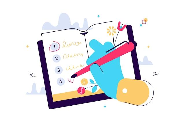 Cartoon vectorillustratie van een lijst met resoluties voor het starten van een nieuw leven. en menselijke hand schrijven in planner.