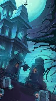 Cartoon vectorillustratie van een somber kasteel in het midden van de graven en schedels scheuren onder een volle maan