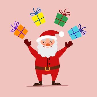 Cartoon vectorillustratie van een vriendelijke lachende kerstman, jongleren met geschenken. een element van het kerstontwerp.