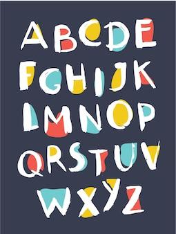 Cartoon vectorillustratie van hand getrokken alfabet. onzorgvuldig abc op donkere achtergrond.