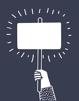 Cartoon vectorillustratie van hand met banner op donkere achtergrond. protestconcept en teken. zwart-wit schetst een modern stijlconcept.+