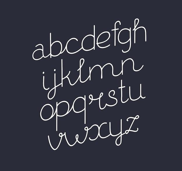 Cartoon vectorillustratie van handgeschreven script lettertype. dunne lijnstijl moderne kalligrafie cursief lettertype. cursief, schuin lettertype op donkere achtergrond.+