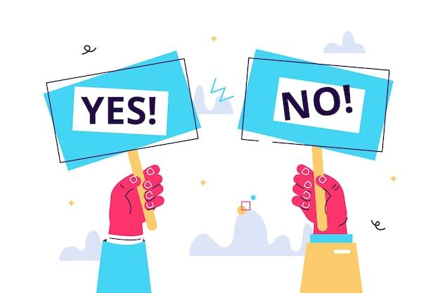 Cartoon vectorillustratie van ja geen banner in menselijke hand. testvraag. keuze aarzelen, geschil, oppositie, keuze, dilemma, mening van de tegenstander.