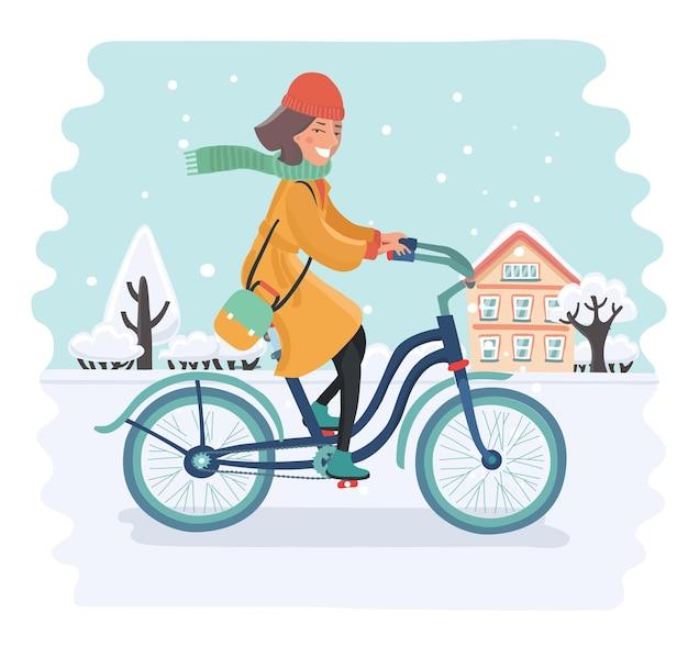 Cartoon vectorillustratie van lachende meisje, ritje op de fiets in sneeuwlandschap. winterse achtergrond.