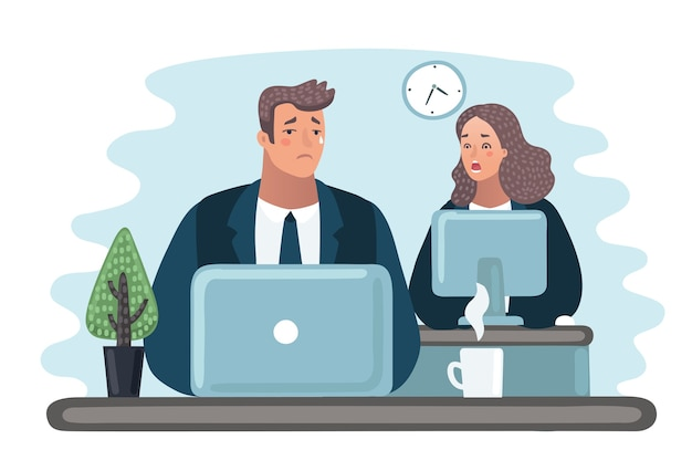 Cartoon vectorillustratie van man huilt, collega is empatisch