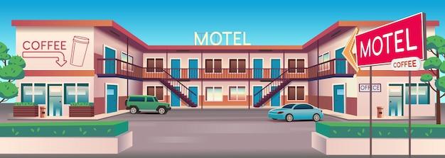 Cartoon vectorillustratie van motel met auto's en koffiebar overdag.