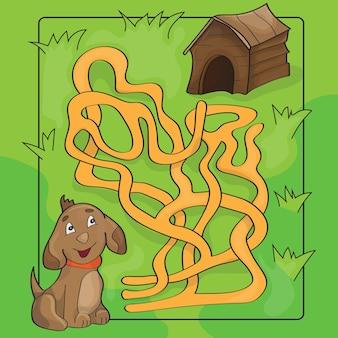 Cartoon vectorillustratie van onderwijs doolhof of labyrint spel voor kleuters met grappige hond en hondenhok