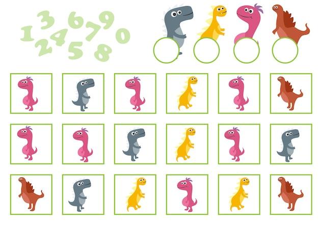 Cartoon vectorillustratie van onderwijs tellen spel met cartoon dinosaurus voor kinderen