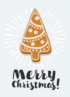 Cartoon vectorillustratie van peperkoek cookies kerstboom vorm verzameling van zelfgemaakte vakantie cookies. nieuwjaar bakkerij. handgetekende letters.