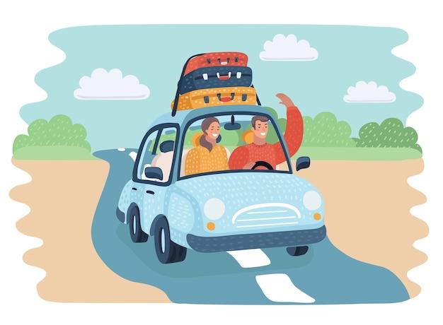 Cartoon vectorillustratie van rijdende man reizen met de auto op de weg van het platteland