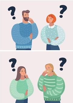 Cartoon vectorillustratie van set van karakter man begroet. denkt en vindt een oplossing. vrouw een mannelijke carachter met gezichten een keuze. man en vrouw, vraagtekens.