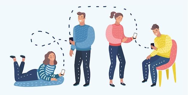 Cartoon vectorillustratie van studenten of werkgroep met slimme mobiele telefoon sociale netwerkcommunicatie.