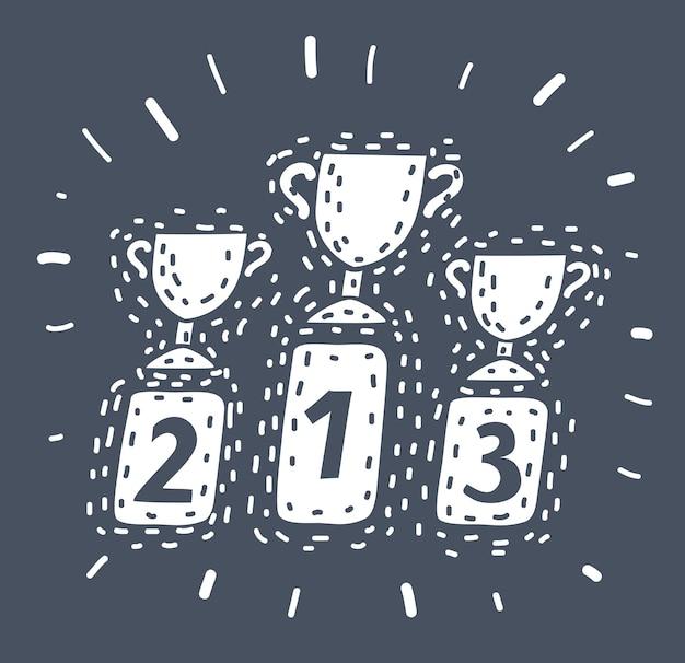 Cartoon vectorillustratie van trofee pictogram. kampioen winnaar teken. beste prestatiesymbool.+