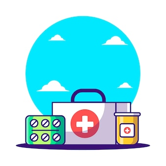 Cartoon vectorillustraties ehbo-kit. apotheekdag en medicijnpictogramconcept