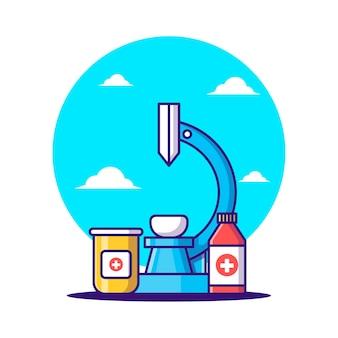Cartoon vectorillustraties microscoop met fles drugs. apotheekdag en medicijnpictogramconcept