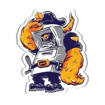 Cartoon veiligheid monster sticker