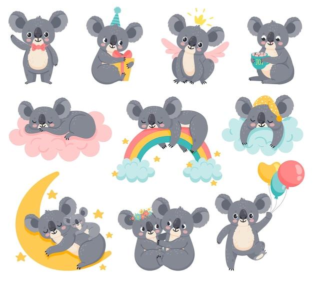 Cartoon verjaardag koala's. luie koala slapen op wolk. schattige australische dieren met ballonnen. baby douche beer. kinderkamer decor vector set. illustratie baby luie koala, beer op wolk met regenboog