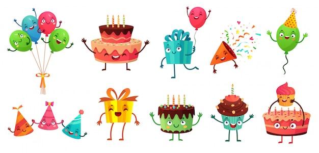Cartoon verjaardag viering set. partij ballonnen met grappige gezichten, gelukkige verjaardagstaart en geschenken mascotte illustratie set