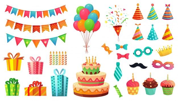Cartoon verjaardagsfeestje decoraties. cadeautjes, zoete cupcakes en feesttaart. kleurrijke ballonnen illustratie set