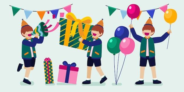 Cartoon verjaardagsfeestje mensen man en vrouw hebben thuis verjaardagsfeestje