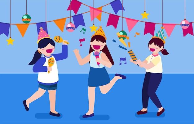 Cartoon verjaardagsfeestje mensen vrouw heeft verjaardagsfeestje thuis