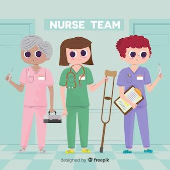 Cartoon verpleegster team achtergrond