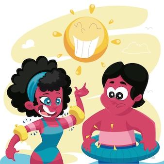 Cartoon verschillende mensen met een zonnebrand