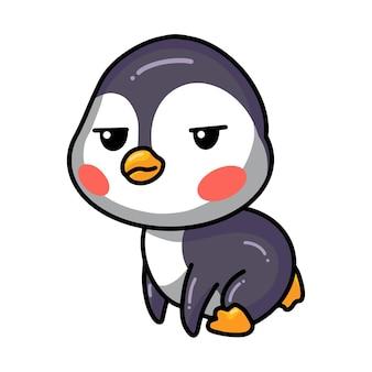 Cartoon verveelde kleine baby pinguïn