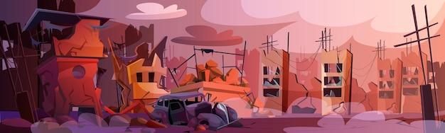 Cartoon verwoeste stad met verlaten gebouwen en beschadigde weg
