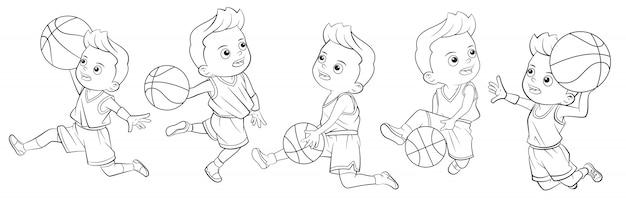 Cartoon verzameling jongens spelen basketbal voor kleurboeken