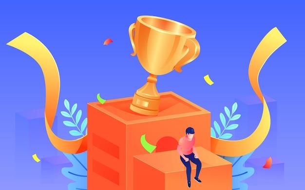 Cartoon vieren kampioen karakter race overwinning trofee isometrische vectorillustratie