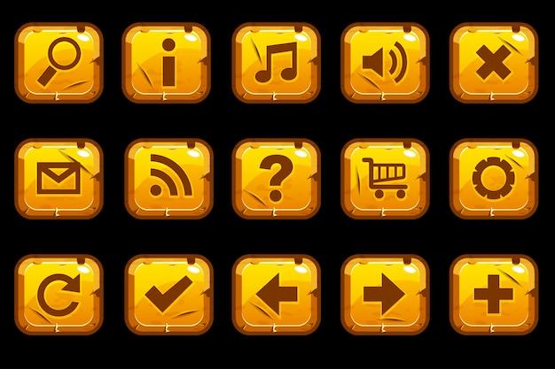 Cartoon vierkante gouden oude knoppen