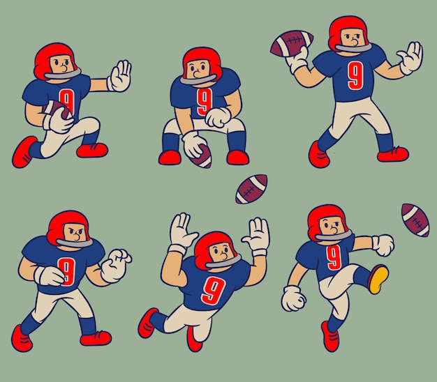 Cartoon vintage karakter american football
