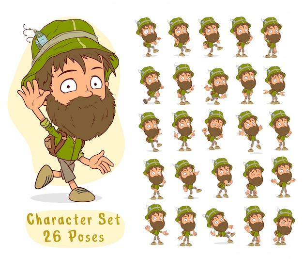 Cartoon visser jongen grote set voor animatie