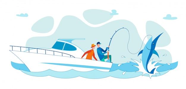 Cartoon vlakke mensen die vissen op haai vanaf boot.