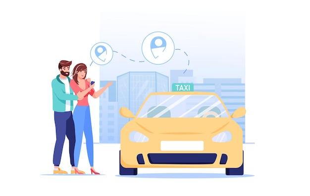 Cartoon vlakke stijl familie karakters bestellen taxi illustratie