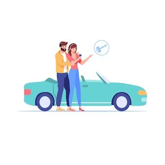 Cartoon vlakke stijl familie karakters kopen of huren auto illustratie
