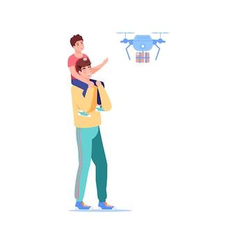 Cartoon vlakke stijl familiekarakters ontvangt online bestelling illustratie