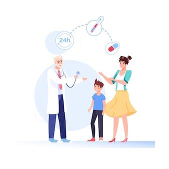 Cartoon vlakke stijl patiënten, arts tekens illustratie