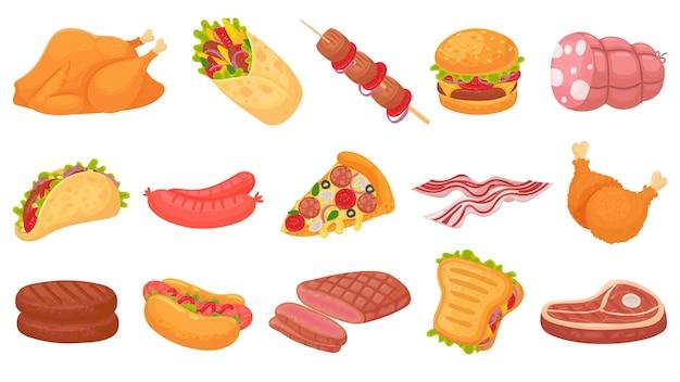 Cartoon vlees eten. gebakken kippenpoten, burger en gegrilde steak.
