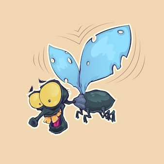 Cartoon vlieg insect