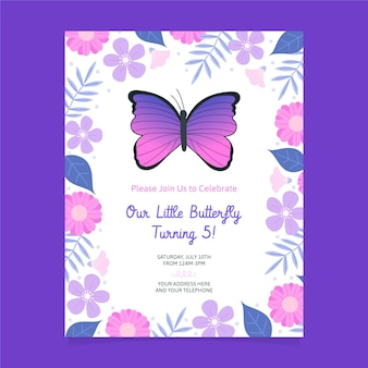 Cartoon vlinder verjaardag uitnodiging sjabloon
