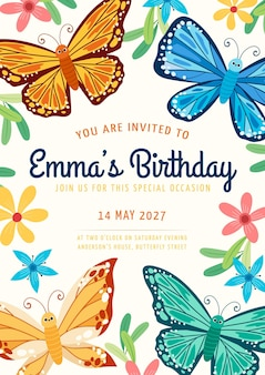 Cartoon vlinder verjaardagsuitnodiging