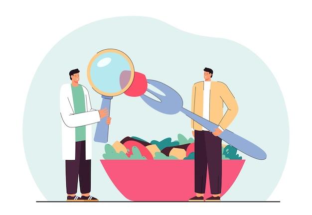 Cartoon voedingsdeskundige analyseren van voedsel van patiënt