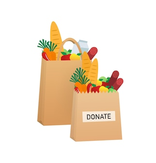 Cartoon voedsel donatie illustratie Premium Vector