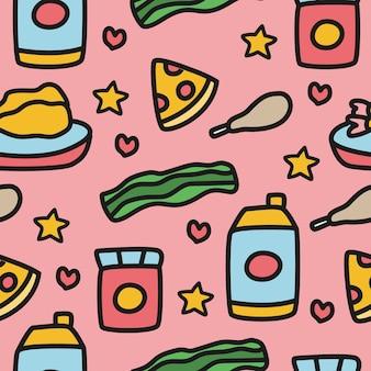 Cartoon voedsel doodle patroon ontwerp